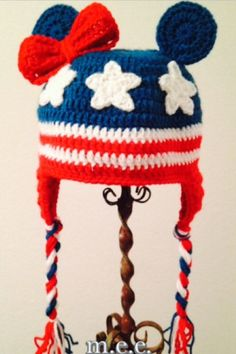 673ef8b2c7e Items similar to Minnie or Mickey Mouse inspired all American flag crochet  beanie   hat