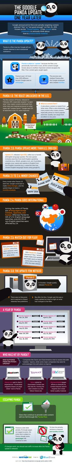 Panda Infographic:    Search Engine Land and BlueGlass put together a nice infographic on the year of Panda:
