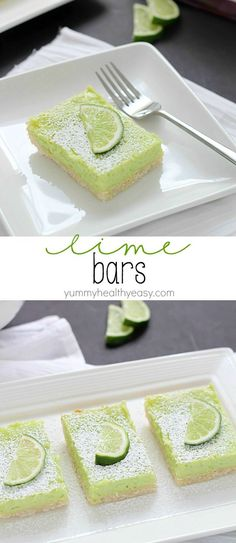 If you like lemon bars, you will love these lime bars! The crust is delicious. The lime layer is divine, light and fluffy, almost like a meringue but full of lime flavor. And the green is perfect for St. Patrick's Day!