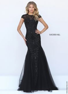 9bcbdff043b9 Sherri Hill 50516 Beaded Short Sleeve Mermaid Gown