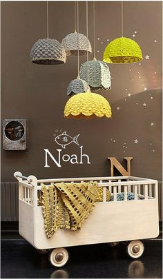 alice brans posted cute crochet lamp shades, cute for baby room. grey and white to their -crochet ideas and tips- postboard via the Juxtapost bookmarklet. Deco Kids, Room To Grow, Nursery Inspiration, Yarn Inspiration, Inspiration Design, Kid Spaces, Kids Decor, Decor Ideas, Diy Ideas