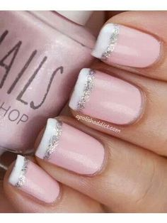 Light Pink Nails with White and Silver Tips