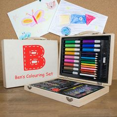 Personalised Children's Colouring In Set - personalised art set - personalised craft set - gift for Wooden Art Box, Wooden Train, Wooden Gift Boxes, Wooden Gifts, Wooden Case, Personalised Childrens Gifts, Personalized Gifts For Men, All You Need Is, Childrens Art Set