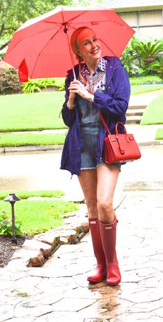....it's raining cats and dogs.....again..Rainy day outfits...boots, umbrella, overalls, statement jewelry.