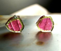 Pair of Watermelon Tourmaline Slices matched  two by CoyoteRainbow, $58.00