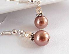 Brown pearl earrings Czech glass Brown di MountainAshJewellery