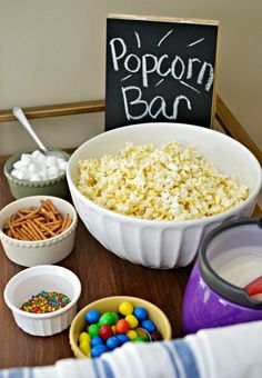 Get ready for your family night with this yummy popcorn bar. Great idea for movie night and birthday parties.: