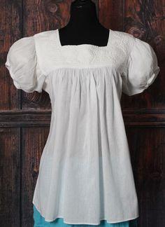 White on White Hand Embroidered Blouse Mayan Chiapas Mexico Hippie Boho Resort #Handmade #blouse
