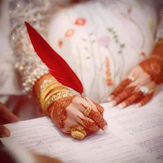 Nikah tou naam hai umer bhar k saath ka. Indian Bridal Outfits, Pakistani Wedding Dresses, Wedding Couple Poses Photography, Bridal Photography, Nikah Ceremony, Mehndi Decor, Mehendi, Bridal Photoshoot, Wedding Dresses For Girls
