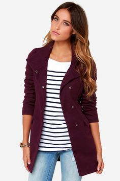 Jack By BB Dakota Cecil Coat - Overcoat - Purple Coat - $63.00