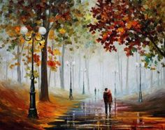 """Foggy Morning — PALETTE KNIFE Contemporary Landscape Oil Painting On Canvas By Leonid Afremov - Size: 40"""" x 30"""" (100cm x 75cm)"""