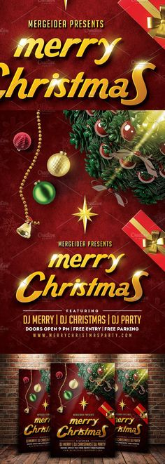 Merry Christmas Party Flyer. Flyer Templates