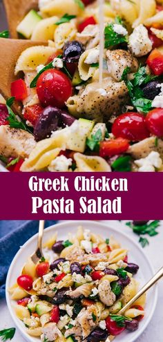 Greek Chicken Pasta Salad Simple, delicious, and bursting with flavor, this Greek Chicken Pasta Salad is the perfect side dish for all your summer cookouts and so much more! Chicken Pasta Salad Recipes, Tuna Salad Pasta, Greek Chicken Recipes, Cold Side Dishes, Side Dishes Easy, Side Dish Recipes, Yummy Recipes, Salad Dishes, Pasta Dishes