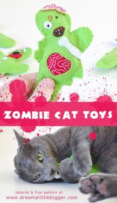 'Felt Zombie Catnip Filled Cat Toys Tutorial...!' (via Dream a Little Bigger)