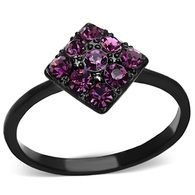 Black Stainless Steel Purple Crystal Ring