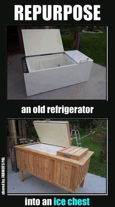 Repurpose an old fridge into a patio cooler and ice bin - may work, just can't fill it full of water though . . . It still is a fridge and is not water proof after all