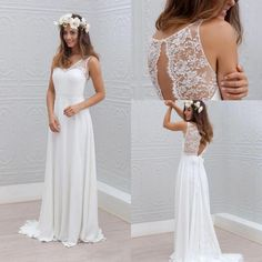 Simple Bohemian Style Wedding Dress A Line White Ivory Bridal Gown Custom Size - Bridal Dresses - Ideas of Bridal Dresses Bohemian Style Wedding Dresses, Western Wedding Dresses, Princess Wedding Dresses, Best Wedding Dresses, Bridal Dresses, Wedding Gowns, Bohemian Bride, Wedding Dresses For Petite, Bohemian Gown