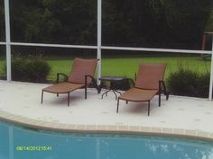 Empire Chaise Lounges perfect for relaxing poolside. #leadersfurniture