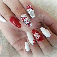 Christmas and Holiday Nail Art Design Ideas Christmas Nail Art Design Ideas: Christmas Coffin Nails; Christmas Nail Art Designs, Holiday Nail Art, Winter Nail Designs, Winter Nail Art, Winter Nails, Xmas Nail Art, Cute Christmas Nails, Xmas Nails, Red Nails