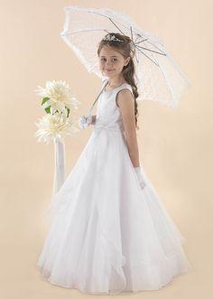 Full Length Princess Communion Dress Kylie - Linzi Jay Beaded Satin Communion Gown - First Communion Dress Whispery Whimsical Skirt - Age 6 7 8 9 11