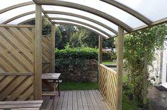 Inside the Jacksons Zone Garden Shelter   #timber #design #garden #roof #shelter