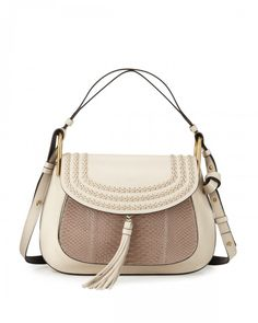 Chloe Hudson Double Carry Python Panel Shoulder Bag Open Off White