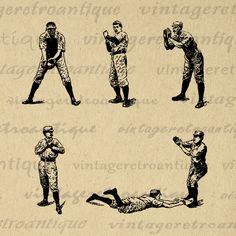 Printable Digital Baseball Players Collage Sheet Download Baseball Graphic Image Vintage Clip Art for Transfers etc Print 300dpi No.4187 @ vintageretroantique.com #DigitalArt #Printable #Art #VintageRetroAntique #Digital #Clipart #Download