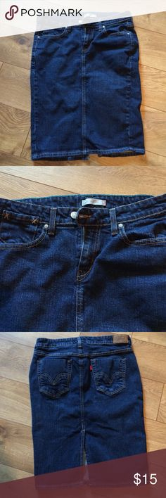 Levi's jeans skirt Skirt is 22 1/2 inches long. Levi's Skirts Pencil
