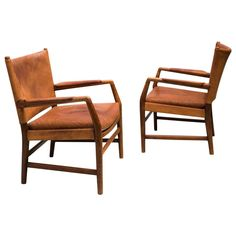 Pair of Early Easy Chairs by Hans Wegner in Oak and Original Patinated Leather 1 $10000