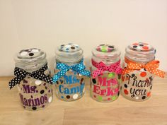 Personalized candy jar - name or monogram, polka dots or flowers - Great Christmas, teacher or Mother's Day gift, choose your colors