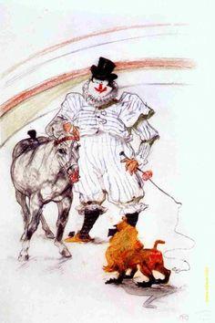 Henri_de_Toulouse-Lautrec. Лошадь и дрессированная обезьяна. 1899. Музей искусств. Чикаго.