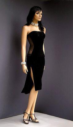 TA-023 black velvet tango dress