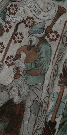 15th century bagpiper in Härkeberga church