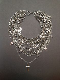Punk Gothic jewelry chain with chains & crosses for fashionable woman modern jewelry (43.00 USD) by MasterMommy