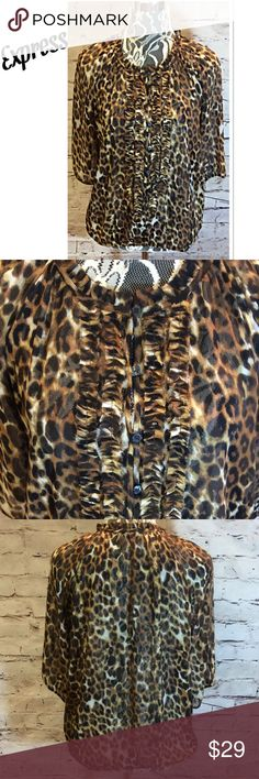 EXPRESS LEOPARD PRINT TOP Pretty blouse with a ruffled front with buttons and elastic at the sleeves 3/4 and bottom Express Tops Blouses