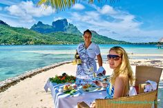 One of the most romantic ideas for a Tahiti vacation is lingering over a private lunch on the beach. We had the lunch of our life at the Sofitel Bora Bora. Romantic Vacations, Romantic Getaway, Romantic Travel, Lunch On The Beach, Bora Bora Island, Bora Bora Resorts, Where Is Bora Bora, Best Resorts, Island Resort