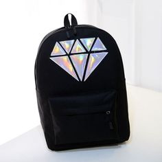 Women Canvas Backpack School Bags Holographic Silver Diamond Solid Teenage Girls Laptop Waterproof Bag