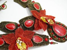 Red Yellow and Bronze Statement Necklace with by BeadsGemsFlowers