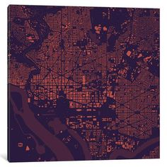 "Mercury Row Washington D.C. Urban Map Art on Wrapped Canvas in Purple Size: 26"" H x 26"" W x 1.5"" D"