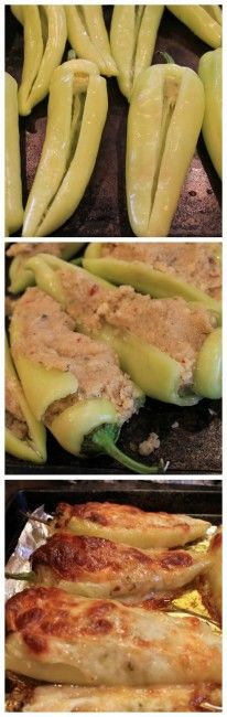 How to make stuffed banana peppers topped with provolone! 2 die 4!!! Perfect appetizer and party pleaser.  Replace bread crumbs with joseph's lavash crumbs, or ezekiel crumbs, or maybe some flax meal.