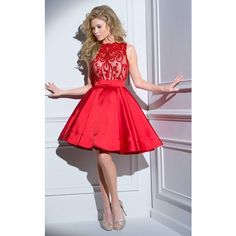Tony Bowls TS21616 Bat Mitzvah Dress Knee Length High Neckline... ($629) ❤ liked on Polyvore featuring dresses, cocktail dresses, red, knee length cocktail dresses, lace party dresses, red homecoming dresses, red lace dress and sheer lace dresses