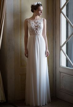 Alon Livn�. Lace top with handmade beaded embroidery, combined with chiffon skirt.
