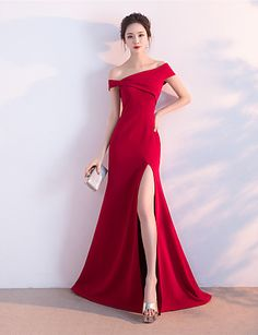1c4f3010fbdd6 A-Line Off Shoulder Sweep / Brush Train Satin Formal Evening Dress with  Split Front by LAN TING Express