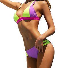 Specifications    Gender Women,    Swimwear Style Geometric,    Swimwear Category Bikinis,    Swimwear Neckline Halter,    Color Purple,    Fabric Spandex,    Fabric Compositio