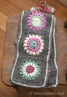 Granny Square Scarf in great color combo