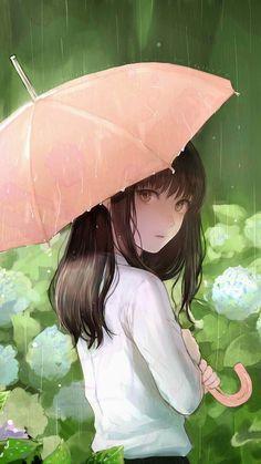 Imagen de anime, girl, and rain