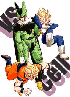 Goku and Vegeta vs Cell - Wat? For some reason this is funny... I'll save it since I like the artwork (and the fact Goku and Vegeta had no chance against Cell, excluding Gohan and the Buu saga characters...)
