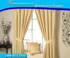 Curtains form an important decor item in your home furnishings as they complete the desired look of your house and make an important style statement. Contact #KommaweerUpholsterers on 044 870 7510 for assistance. #Upholstery