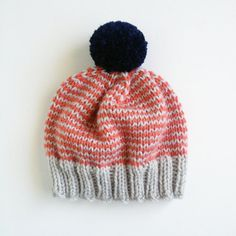 Platinum, Coral, Navy Hand-Knit Beanie with Pom Pom- Made to Order