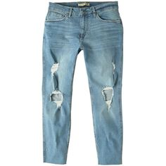 Skinny Greg Ripped Jeans ($35) ❤ liked on Polyvore featuring jeans, light blue, mens zipper jeans, mens button fly jeans, mens distressed skinny jeans, mens ripped jeans and mens super skinny jeans
